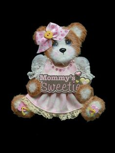 Mommy's Sweetie Girl Baby Tear Bear Paper Piecing Premade Scrapbook Page