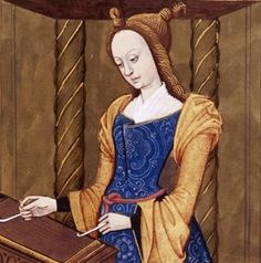Cassandra musician. Daughter of Priam, the mythical king of Troy, and Hecuba. She plays the dulcimer. (Cassandra, the daughter of King Priam and Queen Hecuba of Troy) - French BnF 599 fol. 29