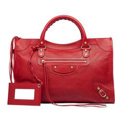 Balenciaga Classic Gold City Red (€1.630) ❤ liked on Polyvore featuring bags, handbags, purses, balenciaga, red, red purse, red handbags, balenciaga handbags, man bag and balenciaga bag