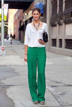 Green linen pants