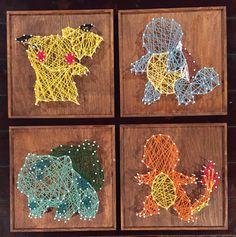 String art diy - 11 Creative DIY String Art Project Ideas To Inspire You – String art diy Geek Crafts, Cute Crafts, Diy And Crafts, Arts And Crafts, Pokemon Gifts, Pokemon Craft, Art Pokemon, Pokemon Decor, Pokemon Room