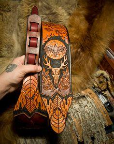 Woodland Leather Guitar Strap by Primitve.deviantart.com on @DeviantArt