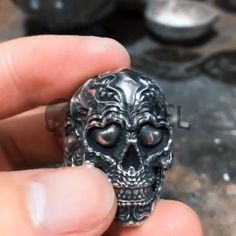 Highest Quality Sterling Solid Silver 925 Ring Weight about: 22 Grams (Approx. Mens Skull Rings, Silver Skull Ring, Skull Jewelry, Hippie Jewelry, Ring Bearer Outfit, Viking Jewelry, Vikings, Top Gifts, Skull Art