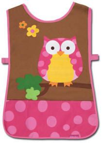 The perfect art smock for your creative crafter! Screen printed with a pretty pink owl, this craft smock has three pockets to keep craft items handy. Side straps Velcro the front to the back. Lightweight polyester. For ages 3+. Spot clean, hang to dry.  PRICE: $16.00 personalization not applicable