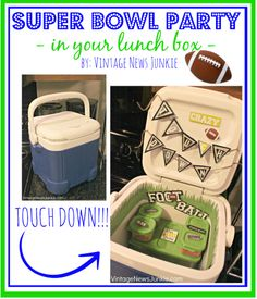 What a Cute Idea!! A football themed lunch for your man with awesome Super Bowl snacks!!