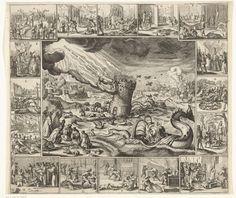 anoniem | Visioen van de ondergang van Spanje, ca. 1630, attributed to Salomon Savery, 1630 - 1635 | Visioen van de ondergang van Spanje, ca. 1630. Centrale voorstelling waarin het kasteel Castillië (Spanje) door de Noordse bok (Zweden die in 1630 de oorlog verklaart aan de Habsburgse monarchie) wordt geramd en ten onder dreigt te gaan in een zee met ganzen (de watergeuzen of Hollanders), walvissen en de ondergang van de Spaanse Armada (1588). Op het land allerlei dieren (zandhazen… Vintage World Maps, Painting, Art, Art Background, Painting Art, Paintings, Kunst, Drawings, Art Education