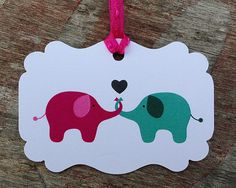 These cute little elephants in love tags measure approximately 1.5x2 inches, they are printed on white card stock. 20 tags come in one pack.
