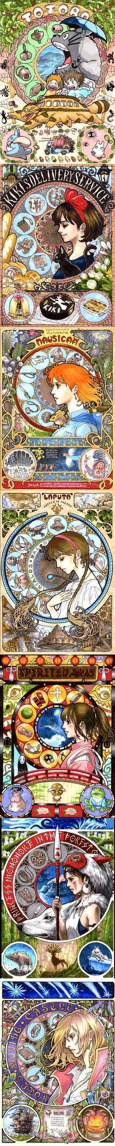 Art nouveau-inspired portraits of Miyazaki's characters (610x6062)