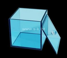 Custom square transparent blue acrylic box with lid Acrylic Sheets, Acrylic Box, Box Supplier, Box Manufacturers, Box With Lid, Color Shapes, Silk Screen Printing, Custom Boxes, Laser Engraving
