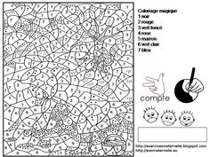 Le petit chaperon rouge (Little Red Riding Hood) printable color-by-number page Fall Coloring Pages, Pattern Coloring Pages, Printable Coloring Pages, Coloring Pages For Kids, Coloring Books, Numbers Preschool, Math Numbers, Alphabet And Numbers, Little Red Riding