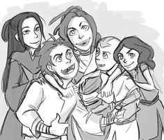 Honora, Bumi, Kya, Tenzin, and Lin.