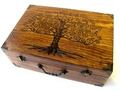 Tree of Life Memory Box Small with Brass Accents von DekoMuse, $105,00
