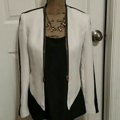 Funky black and white blazer Fabulous jacket with black stripes and gold zippers. Minimal wear, Sold as is. Forever 21 Jackets & Coats Blazers