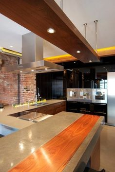 Amazing Loft Reno   Concrete Bar With Plank Inlay
