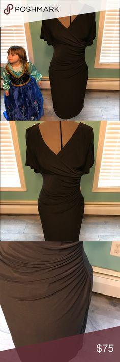 Ralph Lauren black evening gown Stunning black evening gown. Drapes on the shoulders. Knee length. Dry clean only. Lauren Ralph Lauren Dresses Midi