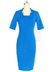 Ladylike Stand-Up Collar 1/2 Sleeve Bodycon Solid Color Women's Dress