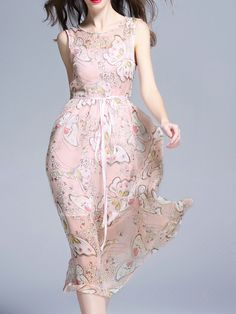 Shop Pink Butterfly Print Tie-Waist Dress online. SheIn offers Pink Butterfly Print Tie-Waist Dress & more to fit your fashionable needs.