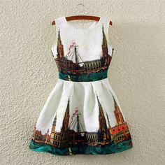 Multicolor City Print Crew Neck Sleeveless Dress