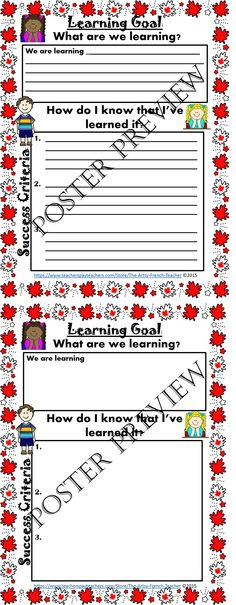 Ontario Learning Goal Poster - Engage your whole class in creating, tweaking, and honing the project, culminating task, inquiry or assignment Learning Goal and Success Criteria. www.teacherspayte... Use this to create report card comments. Gr. 1-8