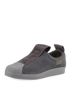 Superstar+Slip-On+Suede+Sneaker,+Gray+by+Adidas+at+Neiman+Marcus.