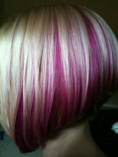 Cute Angled Bob with peek-a-boo Hot Pink