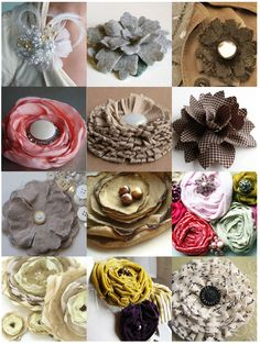Handmade flowers - lots of ideas. I really need to learn how to make fabric flowers! Felt Flowers, Diy Flowers, Fabric Flowers, Paper Flowers, Flower Ideas, Fabric Rosette, Material Flowers, Cloth Flowers, Flower Diy
