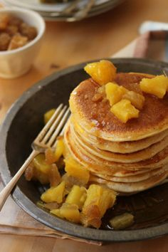 You can make any fruit compote you like but I feel pineapple, with its sunny yellow, complements the carob and gingery brown pancakes. Makes 14 small pancakes – American pancakes/griddle cake size. Rum Sauce Recipe, Pineapple Pancakes, American Style Pancakes, Fruit Compote, Pineapple Recipes, Brownie Recipes, Pancake Recipes, Best Breakfast, Food Hacks