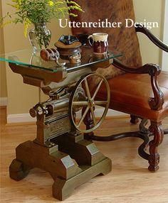 tavolino: ingranaggi industriali, steampunk, tavolo scultoreo