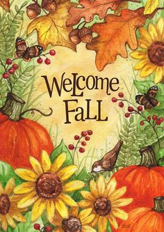 Trademark Global Melinda Hipsher 'Welcome Fall Pumpkins And Leaves' Canvas Art - 22 Autumn Art, Autumn Leaves, Artist Canvas, Canvas Art, Welcome Fall, Fall Wallpaper, Fall Pictures, Painted Pumpkins, Fall Harvest