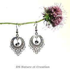 Handmade jewelry gemstone earrings snowflake by DSNatureetCreation