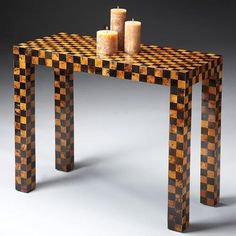 Console Table - Butler Loft - 6049140. Console Table - Butler Loft - 6049140 Wood products covered by inlaid brown and yellow penn shell in checkerboard design. Product Specifications Dimensions 36 W x 16 D x 29.75 H (inches) Finish_Material Butler Loft Usually.. . See More Console Tables at http://www.ourgreatshop.com/Console-Tables-C694.aspx