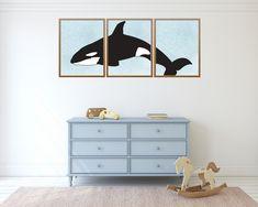 Set of three whale prints, orca wall art, nursery decor, living room decor, ocean nursery print, nautical nursery Room Wall Decor, Bedroom Wall, Nursery Decor, Living Room Decor, Bedroom Decor, Ocean Nursery, Nautical Nursery, Farmhouse Kitchen Signs, Whale Print