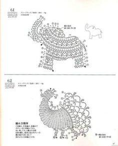 Resultado de imagen para crochet animals out of doilies Filet Crochet, Crochet Diagram, Freeform Crochet, Crochet Chart, Thread Crochet, Love Crochet, Irish Crochet, Appliques Au Crochet, Crochet Motifs