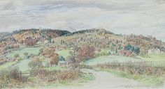 "Stanley Roy Badmin (British, 1906-1989) Leith Hill From S. (south). Original watercolor painting and pencil on paper. Signed and titled lower right ""Leith Hill From S. S .R. Badmin, March"". Not inspected out of frame. Very good condition. Image size measures 5.2 inches high by 10 inches wide. Frame measures 17.7 inches high by 23.5 inches wide."