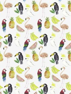 Flamingo, Parrot, Pineapple, Banana and Parakeet pattern. All our favorite things!