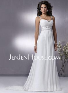 Wedding Dresses - $132.99 - A-Line/Princess Strapless Chapel Train Chiffon  Charmeuse Wedding Dresses With Ruffle  Beadwork (002004113) http://jenjenhouse.com/A-line-Princess-Strapless-Chapel-Train-Chiffon--Charmeuse-Wedding-Dresses-With-Ruffle--Beadwork-002004113-g4113