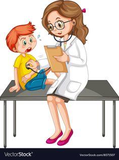 Doctor examining little boy vector image on VectorStock Body Preschool, Teacher Cartoon, Nurse Art, Autism Activities, Community Helpers, Kids Education, Kids Learning, Little Boys, Cute Kids