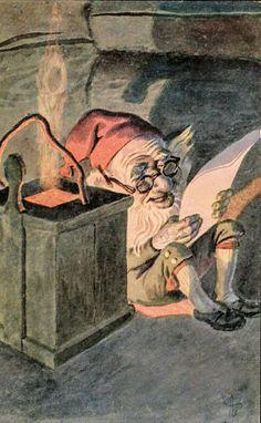 Julekort Andreas Bloch. Nissen leser. Utg Mittet & Co. Stemplet 1908