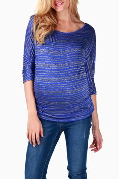 Blue Grey Striped Maternity Top