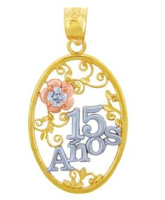 ba0f9d3336a3 10k Tri-tone Gold Sweet 15 Anos Quinceanera Pendant Flower in Cubic Zirconia