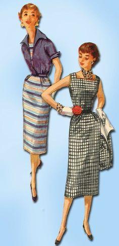 1950s Vintage Wiggle Dress & Jacket 1955 Simplicity Sewing Pattern Sz 30 B #Simplicity #WiggleDressJacket