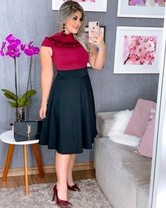 Image may contain: 1 person Latest Fashion Clothes, Curvy Fashion, Fashion Outfits, Womens Fashion, Conservative Fashion, Looks Plus Size, Church Outfits, Stylish Tops, African Fashion Dresses