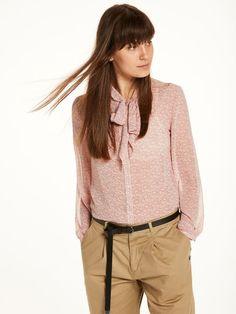 Transparante blouse met gestrikte hals