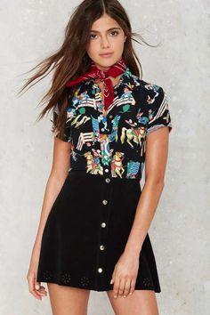 Vintage Betsey Johnson Ride the Buck Printed Shirt #vintage #BetseyJohnson #NastyGal
