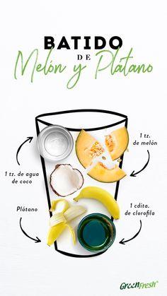 El batido de melón proporciona antioxidantes que aceleran el metabolismo y ayuda a equilibrar los niveles de colesterol. Healthy Juices, Healthy Smoothies, Healthy Drinks, Healthy Recipes, Green Smoothie Recipes, Juice Smoothie, Smoothie Drinks, Baby Shower Cakes For Boys, How To Make Drinks