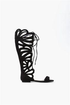 Butterfly Gladiator Sandal – Black