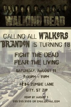 This Walking Dead party invitation would be perfect to set the stage for your zombie birthday celebration.  It features the show's logo and characters and can be fully personalized.