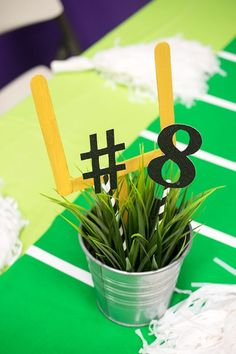 62 best football centerpieces images themed parties american rh pinterest com football themed party centerpiece ideas football birthday party decoration ideas