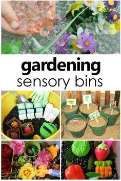 Gardening Sensory Bins for Toddlers and Preschoolers #preschool #sensorybin #toddlers