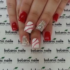 Baseballl Red Nails